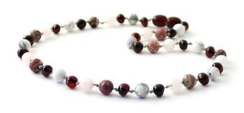 cherry, necklace, black, leopardskin jasper, gemstone, amber, baltic, cherry, howlite, white, rose quartz, pink