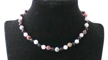 cherry, necklace, black, leopardskin jasper, gemstone, amber, baltic, cherry, howlite, white, rose quartz, pink 2