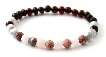 stretch, bracelet, leopardskin jasper, amber, baltic, cherry, rose quartz, pink, black, jewelry, howlite, white