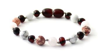 bracelet, cherry, amber, leopardskin jasper, anklet, baltic, howlite, white, gemstone, rose quartz, pink