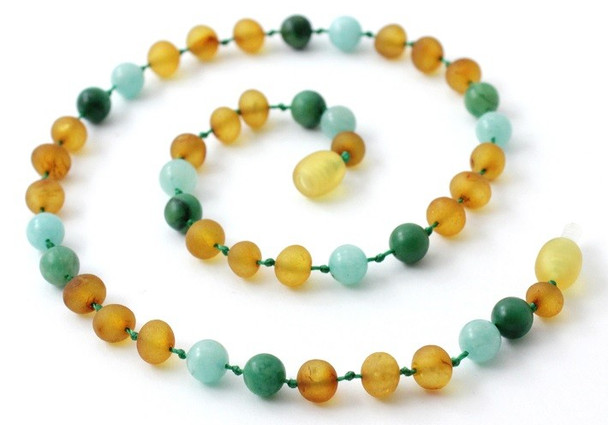 Amber Raw Honey Genuine Necklace Mixed With Amazonite and African Jade 2