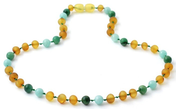 Amber Raw Honey Genuine Necklace Mixed With Amazonite and African Jade 3