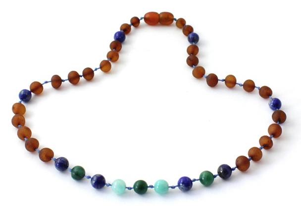 Cognac Amber Unpolished Necklace Mixed With Lapis Lazuli, Jade and Amazonite 3
