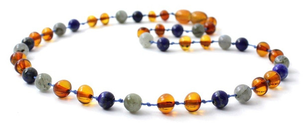 Amber Cognac Necklace Mixed With Labradorite and Lapis Lazuli