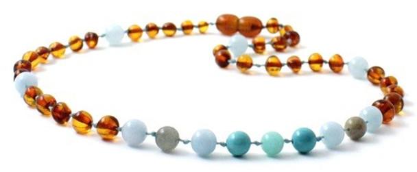 Gemstone, Baltic Amber, Cognac, Aquamarine, Necklace, Labradorite, Teething
