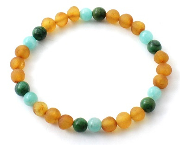 Unpolished, Stretch Bracelet, African Jade, Jewelry, Baltic Amber, Raw, Honey, Amazonite, Green 3