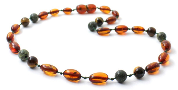Bean, Cognac, Amber, Green Lace Stone, Amber, Baltic, Jewelry, Necklace, Tiger Eye