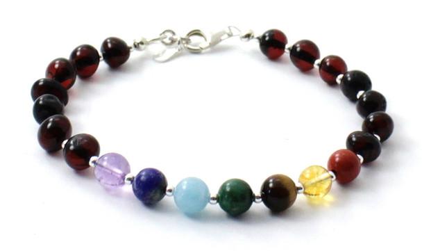 Cherry, Baltic Amber, Chakra, Silver, Sterling 925, Polished, Jewelry, Gemstone, Women