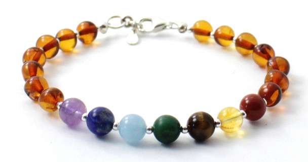 Sterling 925, Cognac, Bracelet, Silver, Baltic Amber, Polished, Jewelry, Beaded, Chakra