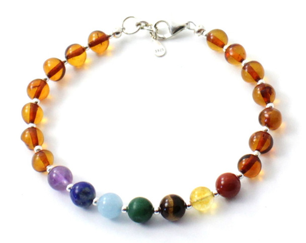Sterling 925, Cognac, Bracelet, Silver, Baltic Amber, Polished, Jewelry, Beaded, Chakra 3