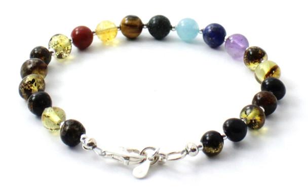 Amber, Bracelet, Green, Chakra, Gemstone, Silver, 925, Sterling, Beaded, Polished, Baltic 3
