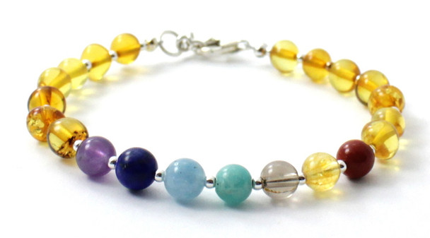 Honey, Silver, Amber, Bracelet, Polished, Jewelry, Chakra, Gemstone, Baltic, Sterling 925