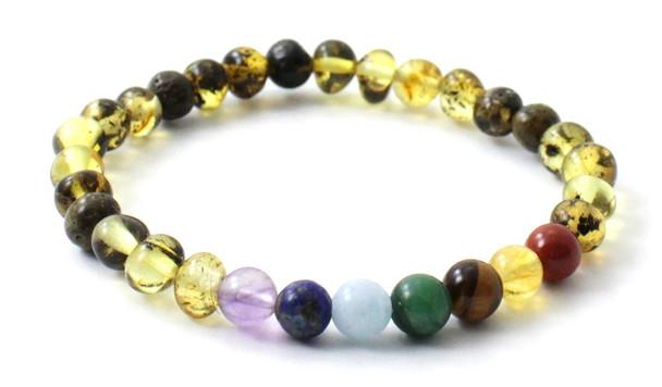 Chakra, Amber, Green, Stretch, Jewelry, Bracelet, Gemstone, Elastic, Adult, Men