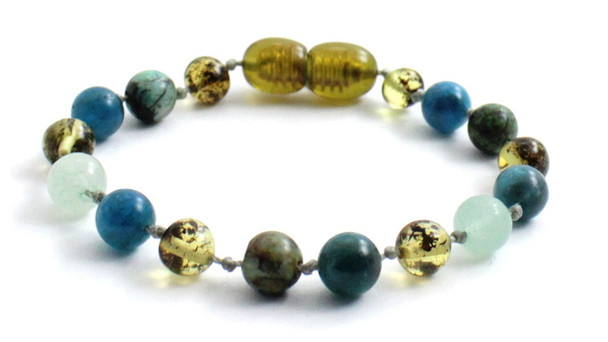 Bracelet, Knotted, Anklet, Amber, Baltic, Aventurine, Green, Apatite, African Turquoise, Beaded