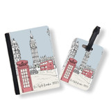 Personalised Passport Cover and Tag - London Town