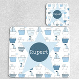 Little Boats Personalised Placemat and matching coaster