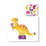 Personalised Dinosaur Placemat and Coaster - Mia