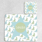 Little Dinosaurs Personalised Placemat and matching coaster