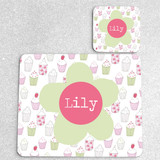 Cupcakes Personalised Placemat and Coaster Set