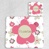 Flowers Personalised Placemat and Coaster Set