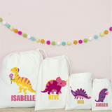 Personalised Dinosaur Party Bags - Pink/Yellow