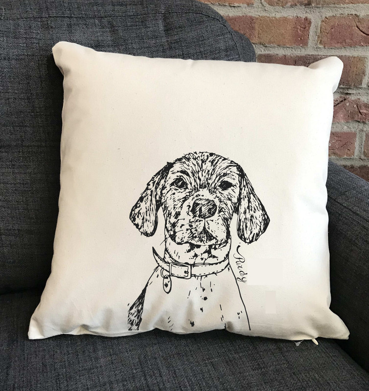 Personalised Line Drawing Dog Cushion