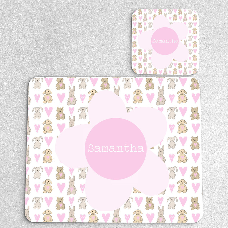 Bears and Bunnies Personalised Placemat and Coaster Set