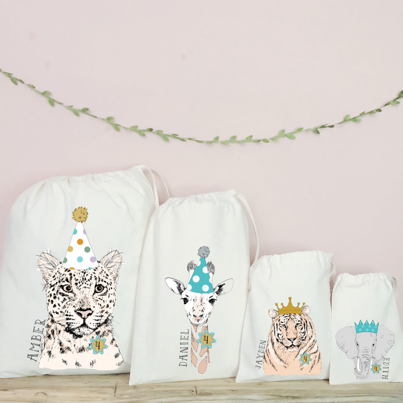 Personalised Cotton Jungle Party Bags