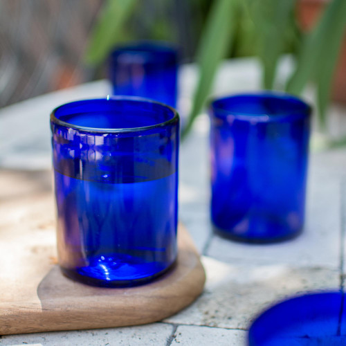 Blue Hand Blown Glass Tumblers Set of 6 Mexico 'Pure Cobalt'