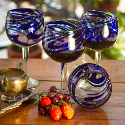 Handblown Recycled Glass Striped Wine Goblets Set of 6 'Blue Ribbon'
