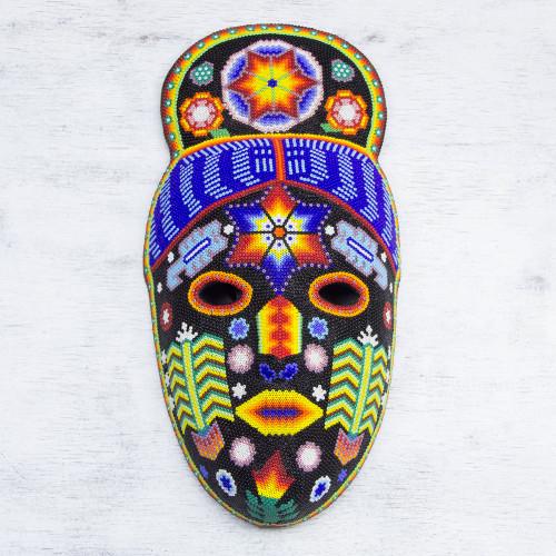 Handmade Huichol Folk Art Beaded Mask 'Teruka-Warra'