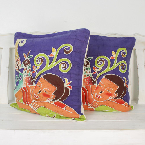 Batik Cotton Cushion Covers Pair 'Dreaming of Birds'