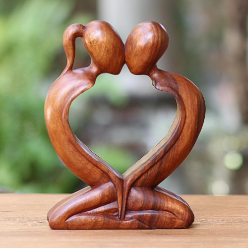 Handcrafted Indonesian Romantic Wood Sculpture 'Kiss Me Quick'