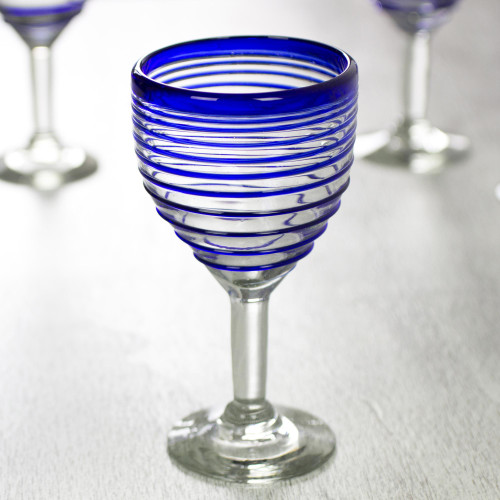 Hand Blown Blue Accent Wine Glasses Set of 6 Mexico 'Tall Cobalt Spiral'