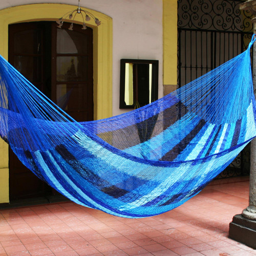 Collectible Striped Mayan Hammock Double 'Blue Caribbean'