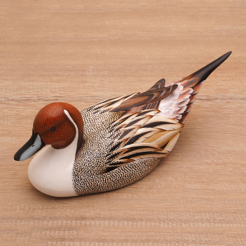 Hand Carved Albesia Wood Duck Statuette from Bali 'Pintail Duck'