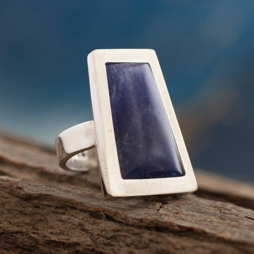 Unique Peruvian Silver and Sodalite Cocktail Ring 'Gate to the Sky'