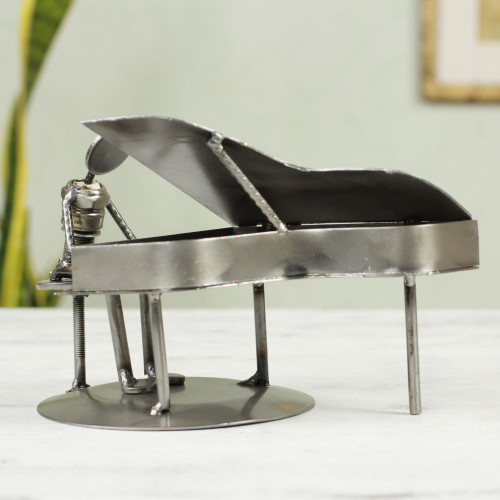 Artisan Crafted Recycled Metal and Car Part Rustic Sculpture 'Rustic Piano Man'
