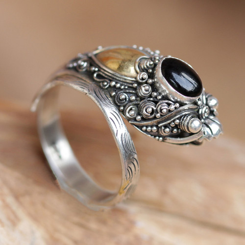 Handcrafted Sterling Silver and Onyx Wrap Ring 'Dragon'