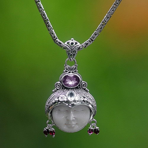 Unique Women's Sterling Silver and Amethyst Necklace 'Dreamer'