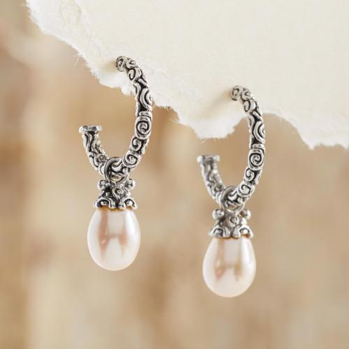 Sterling Silver Cultured Pearl Half Hoop Earrings 'Blushing Rose'