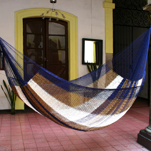 Hand Made Striped Mayan Hammock Double 'Atlantis'