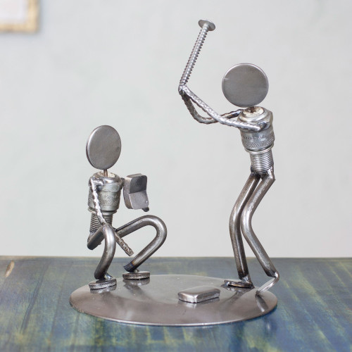 Handcrafted Recycled Metal Rustic Sports Sculpture Mexico 'Rustic Baseball Players'