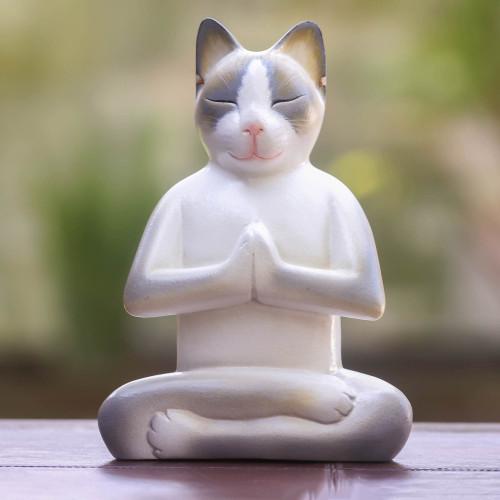Unique Wood Cat Sculpture 'Cat in Meditation'