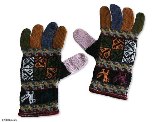 Warm Multi Color 100 Alpaca Hand Knit Gloves from Peru 'Autumn Songbirds'