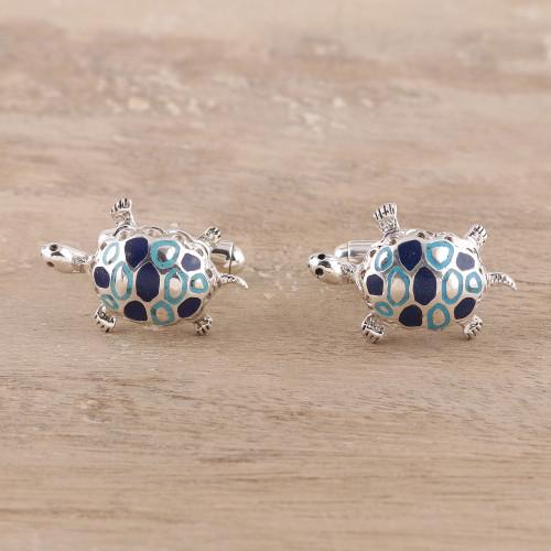 Sterling Silver Cufflinks Good Luck Mens Jewelry Turtles  'Trendy Turtles'