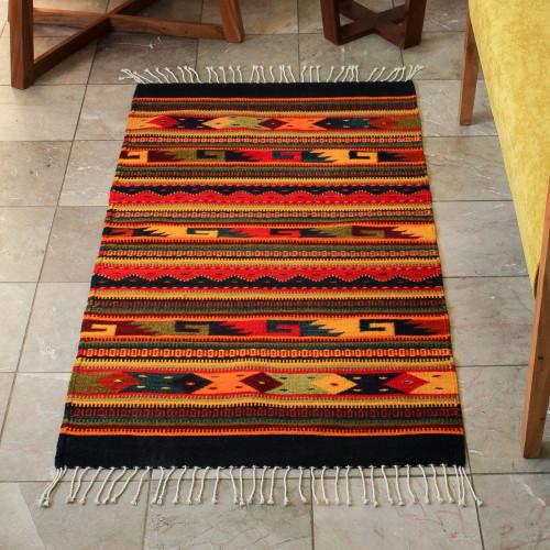 Handmade Zapotec Wool Area Rug 2.5x5 'Color Fiesta'