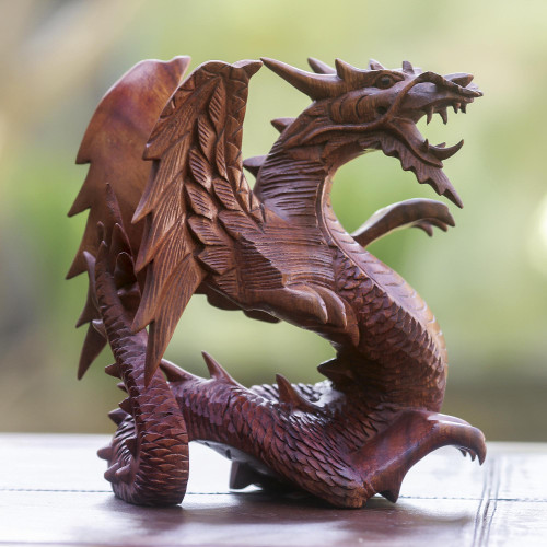 Hand Carved Wood Dragon Sculpture 'Winged Dragon'