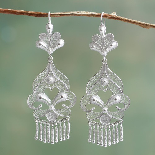 Artisan Crafted Fine Silver Filigree Earrings 'Path of Flowers'