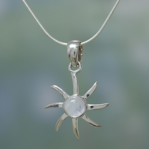 Moonstone and Sterling Silver Necklace Indian Jewelry 'Rainbow Sun'